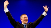 New Zealand PM John Key celebrates retaining power after the general election in Auckland
